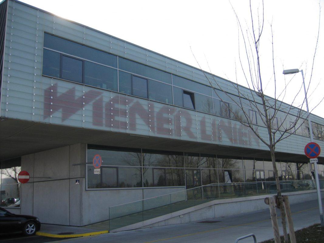 Wiener Linien, Leopoldau Fassade mit Logo